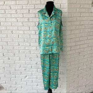 Vintage 90s Y2K Butterfly Print Novelty Pajama Set